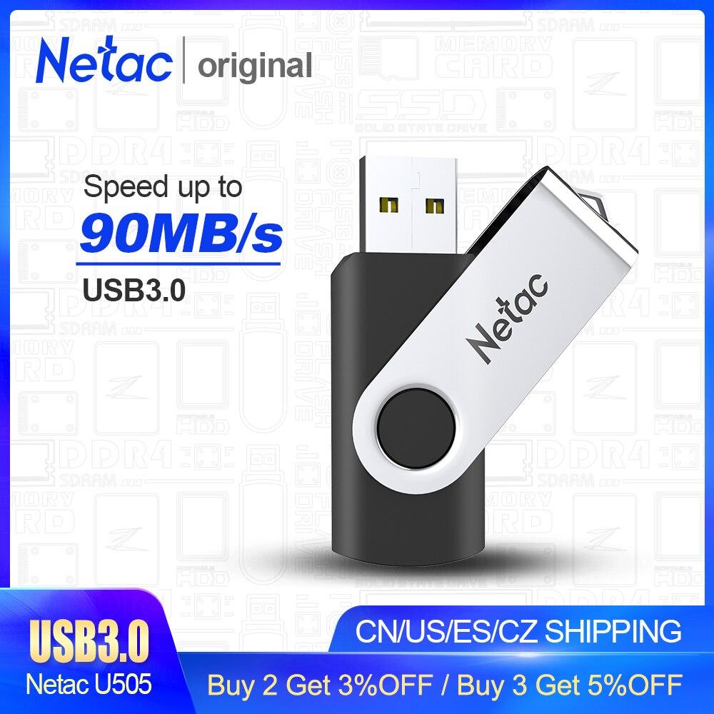 Netac Metal USB Flash Drive 64GB/32GB/16GB Black Pen Drive Pendrive USB Memory Stick 2.0 3.0 USB Disk USB Flash Storage Devices