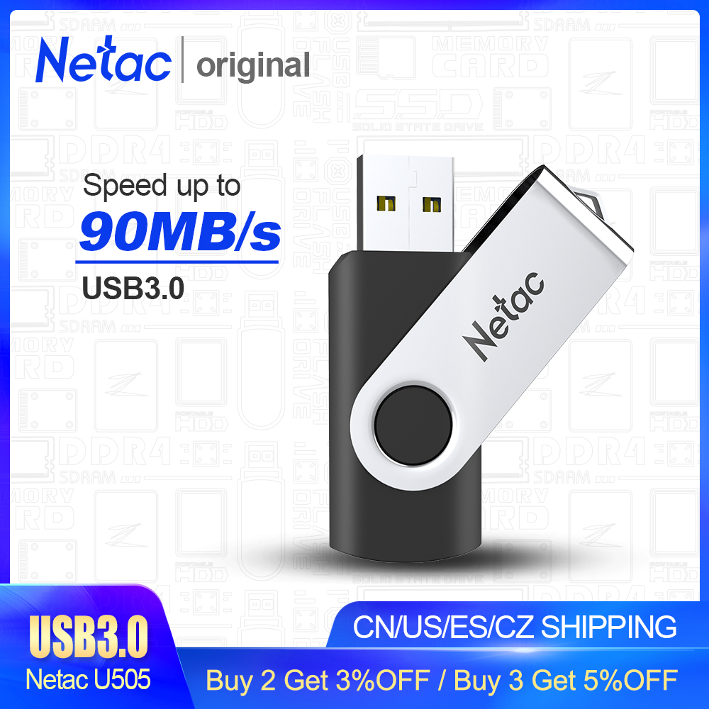 Netac USB 3.0 Metal Flash Drive 64GB/32GB/16GB Black Pen Drive Pendrive USB Memory Stick 3.0 USB Disk USB Flash Storage Devices