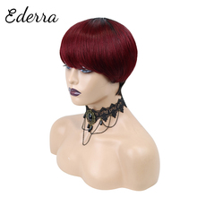 Pixie Short Cut  Wig with Bangs Brazilian Straight Wigs 100% Human Hair Wig for Black Women Honey Blonde Ombre Color