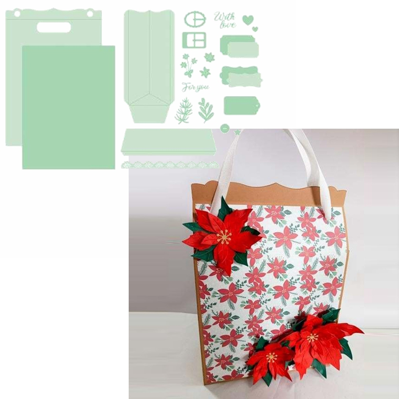 Delicate Gift Bag Metal Cutting Dies Present Bag With Flowery Decoration &Phrase Die Cuts For Card Making DIY New 2019 Crafts