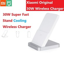 Dahil fiş ve kablo orijinal Xiaomi kablosuz şarj standı 30W soğutma Fan tutucu 19V 1.6A iPhone Samsung için huawei