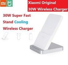 تشمل التوصيل و كابل الأصلي Xiaomi قاعدة شحن لاسلكيّة 30W مروحة تبريد مع حامل 19V 1.6A ل فون سامسونج هواوي