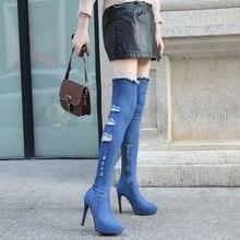 Fashion Women Denim Boots Zipper Hollow Tassel Long Boots Sexy Fashion Over The Knee Jean Boots Thin High Heels Womens Boots