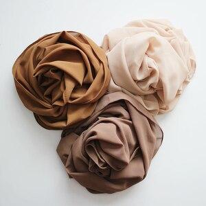 Image 3 - Women Plain Bubble Chiffon Hijab Scarf Head Wraps Solid Shawls Headband Soft Long Muslim Head Scarf Georgette Scarves Hijabs