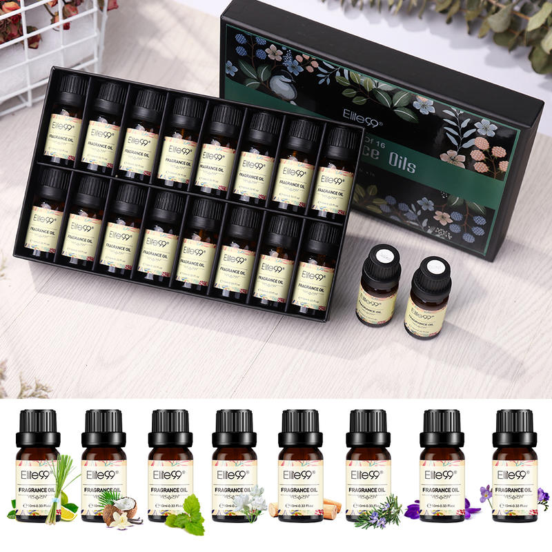 Elite99 10ml Fragrance Oils Set With Gift Box Flower Fruit Essential Oil For Aromatherapy Diffusers Oil Jasmine White Musk Mango