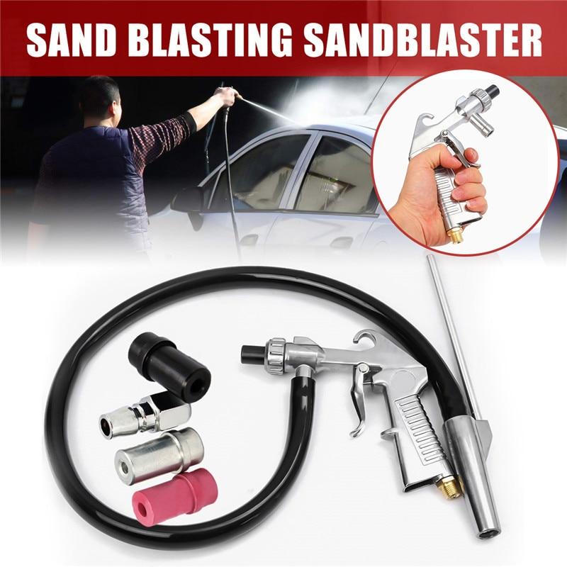 7Pcs/Set Abrasive Air Sand Blasting Gun Kit 1 Ceramic Nozzle 1 Steel Nozzle 1 Sand Suction Pipe Industrial Sandblaster Gun