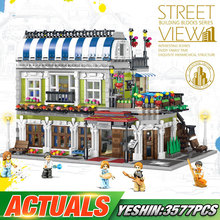 """Yeshin 15010 City Street Toys совместимый с Legoes 10243 Конструктор """"Парижский ресторан"""" креативные игрушки строительные блоки для детей Рождественский подарок"""