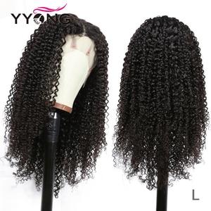 Pelucas de cabello humano rizado mongol YYong de 30 pulgadas, pelucas de cabello humano con encaje frontal 13x4, pelucas de cabello humano Remy de densidad 150% con encaje frontal de baja proporción