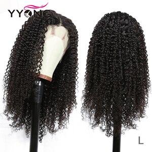 Yyong 30 polegada mongol kinky encaracolado perucas de cabelo humano 13x4 frente do laço perucas de cabelo humano 150% densidade remy frente do laço perucas baixa relação