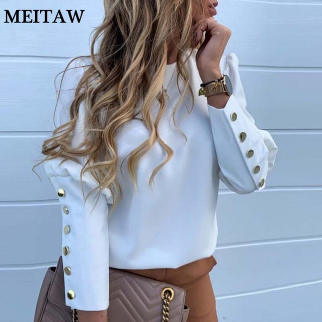 2020 Work Wear Women Blouses Casual Solid O Neck Long Sleeve Metal Buttons Shirt Tops Plus Size Autumn Blouse 1
