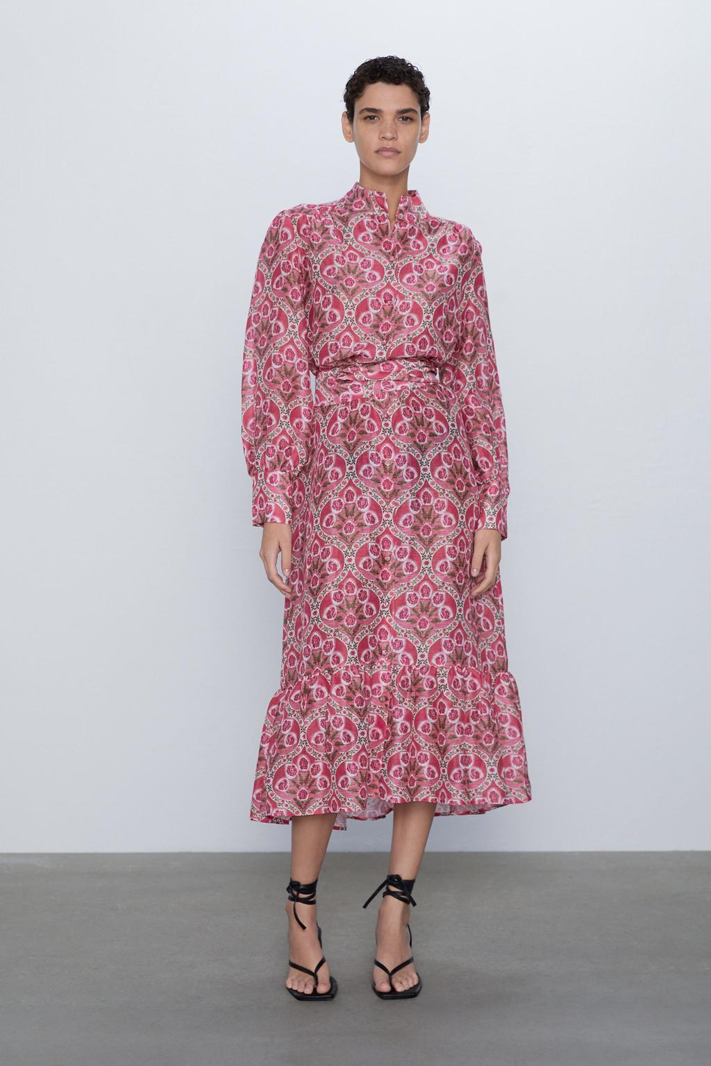 2020 New Spring Summer New Style European Printed Female Midi Dress Printed Zaraing Vadiming Sheining Women Dress