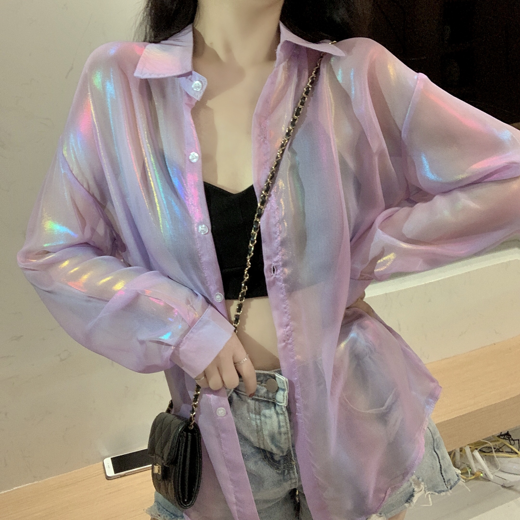 HELIAR Women Shining Sparkles Shirts Long Sleeve Button Up Chiffon Shirts Transparent Sexy Blouses For Women 2020 Autumn