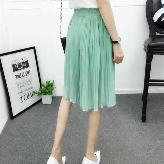 Chiffon Wide Leg Short Femme Trousers Women Loose Lace Up High Waist Knee Length Midi Pleated Summer Shorts Women Capris C7258 5