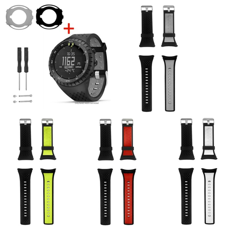 1Set Two-tone Soft Silicone Watchband Wrist Strap Anti-Scratch Watch Case Screen Protector For Suunto Core Smart Watch Accessori