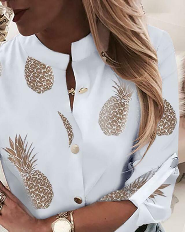 Fashion Women Autumn Long-Sleeved Pineapple Print Blouse Shirt Ladies Casual Tops