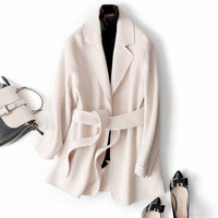 2020 New High Quality Double Cashmere Winter Woolen Coat for Women Beige Color Korean Simple Short Wool Coats Female Outerwear