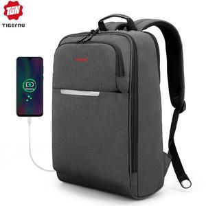 "Image 1 - Tigernu Brand USB Charge Men Backpack Anti theft Mochila 1415""Notebook Backpack Splashproof Male Backpack Women school bag"
