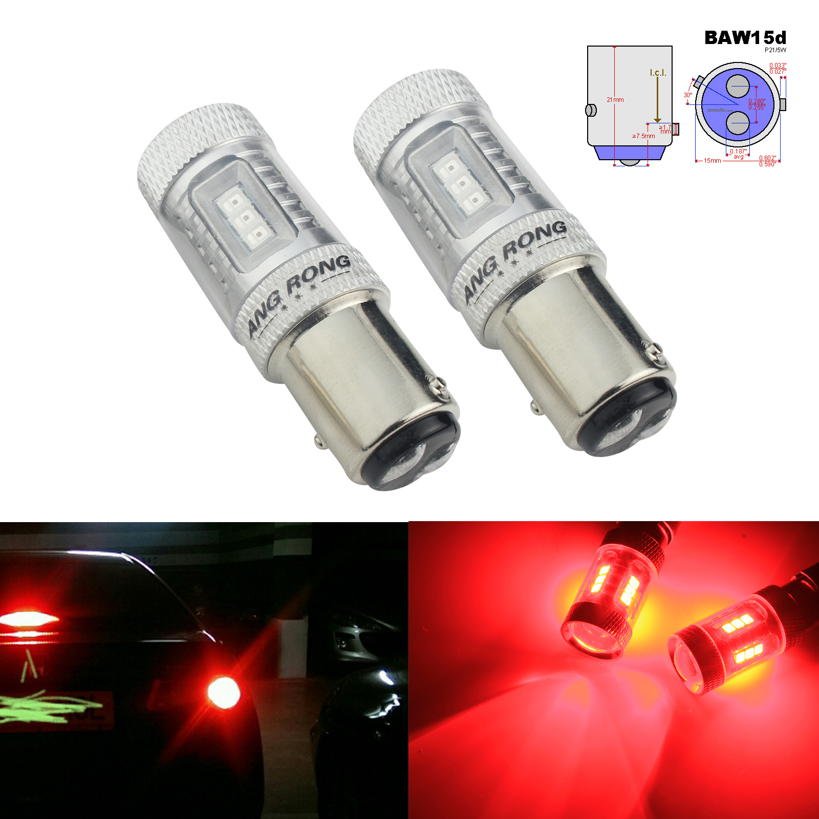 ANGRONG 2pcs PR21/5W BAW15d 380R Bulb Red 15 SMD LED Reverse Backup Light Brake Tail Light(CA317)