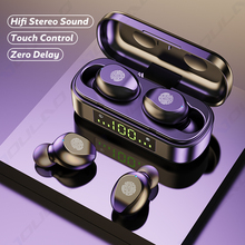 TWS słuchawki bezprzewodowe z Bluetooth sport wodoodporne słuchawki douszne Bluetooth 5 0 słuchawki z mikrofonami sterowanie dotykowe słuchawki HiFi tanie tanio VOULAO NONE Dynamiczny CN (pochodzenie) wireless 120±3dBdB 0Nonem Do kafejki internetowej Do gier wideo Zwykłe słuchawki