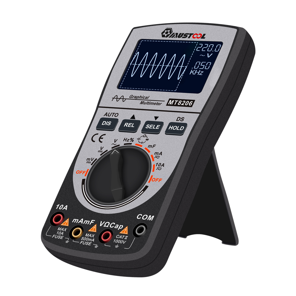 MT8206 2 In 1 Intelligent Digital Oscilloscope Multimeter AC/DC Current Voltage Resistance Frequency Diode Tester With Analog Ba