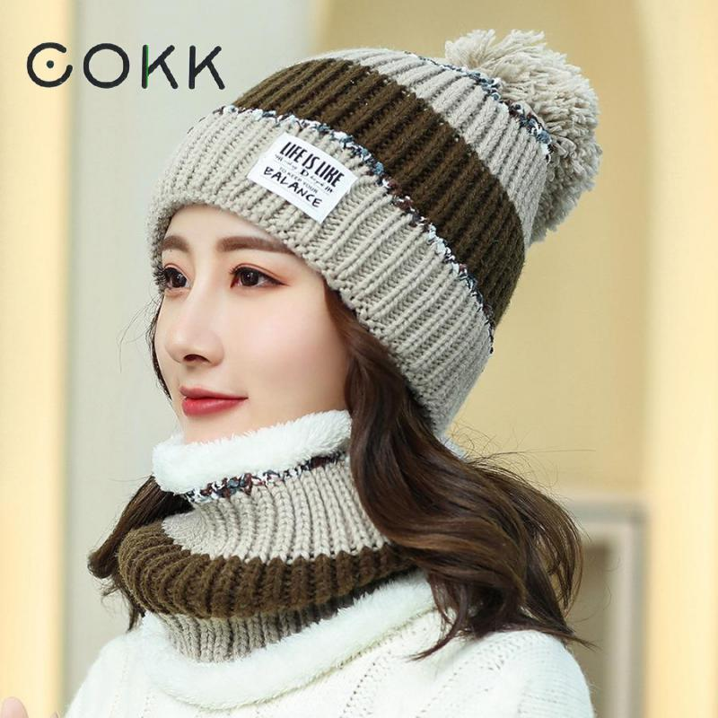COKK Knitted Hat With Scarf Collars Sets For Women Winter Ladies Hat & Scarf With Pompom Two Piece Set Thick Keep Warm Snow Set