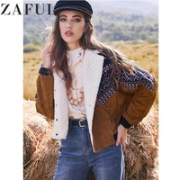 ZAFUL куртка пальто для женщин Зимняя Толстая теплая винтажная верхняя одежда двубортный этнический принт Искусственная овчина панель Вельв...