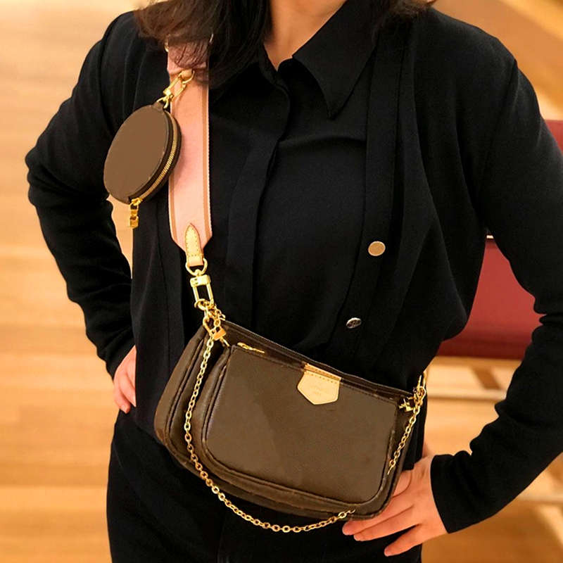 New Leather Three In One Bag Three Piece Mahjong Bag Zero Wallet Wide Shoulder Strap Straddle Fashion Casual Small Square Bag