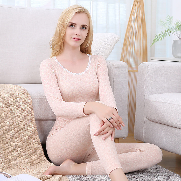 Thermal Underwear Set Women For Winter Long Johns Female Pajamas Sets Nightsuit Thin Breathable Warm Thermal Underwears Homewear