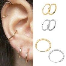 Автоклав 3 пар/лот золото небольшие кольцевые Комплект сережек для женщин простые гладкие серьги-кольца Huggie серьги-кольца, модные ювелирные украшения H40