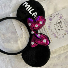 Personaliz RED Pink Bow Sparkly Mickeys Minnies Mouses Ears Minnies Ears Birthday Headbands Customiz