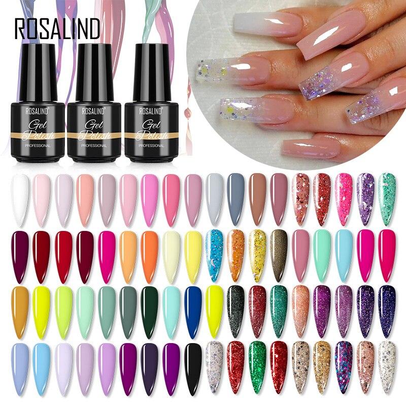 Гель-лак для ногтей ROSALIND, блестящий Гель-лак, необходимый для УФ светодиодный лампы, базового и топового покрытия для дизайна ногтей, маникю...