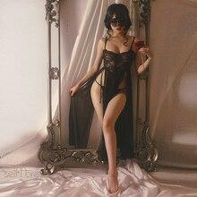 New Women Nightwear Sleepwear Hollow High Slit Suspender Long Lace Mesh Night Dress for Party Sexy Lingerie Nightdress
