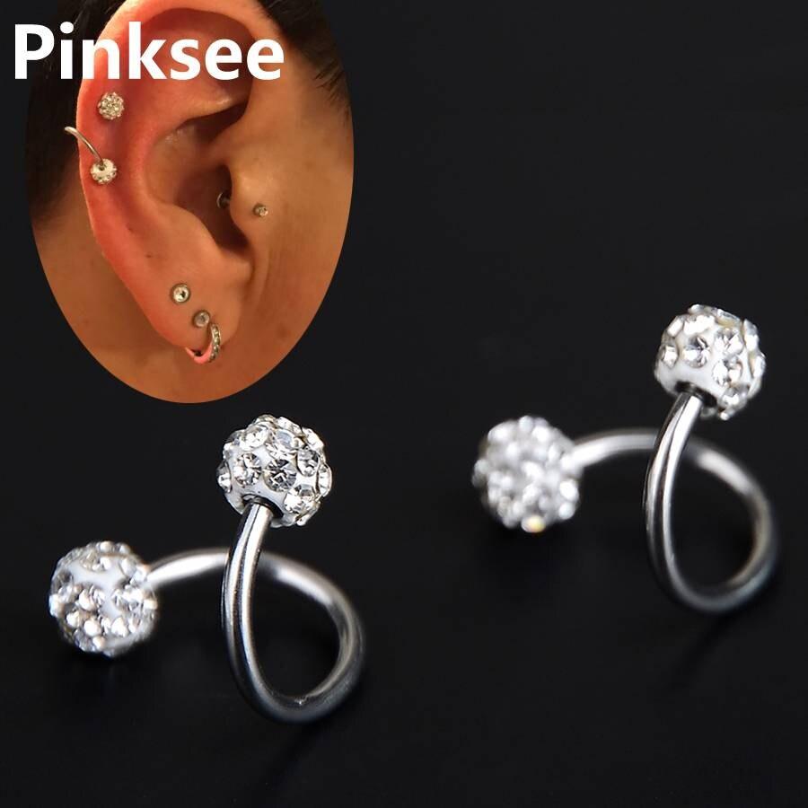 Nipple Upper Ear Cartilage Bars Surgical Steel  Diamante Heart Pattern