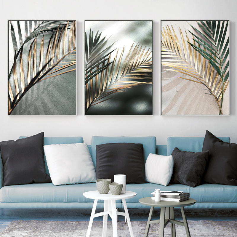 Nordic Wall Art Golden Palm Leaf Plant Canvas Painting Poster Print Botanical Scandinavian Decoration Picture Artwork