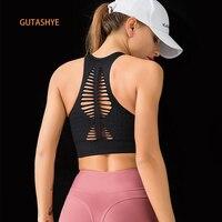 GUTA бесшовный спортивный бюстгальтер с высокой ударопрочностью и ремешками, топы для спортзала, женский бюстгальтер, бюстгальтер для йоги, ф...