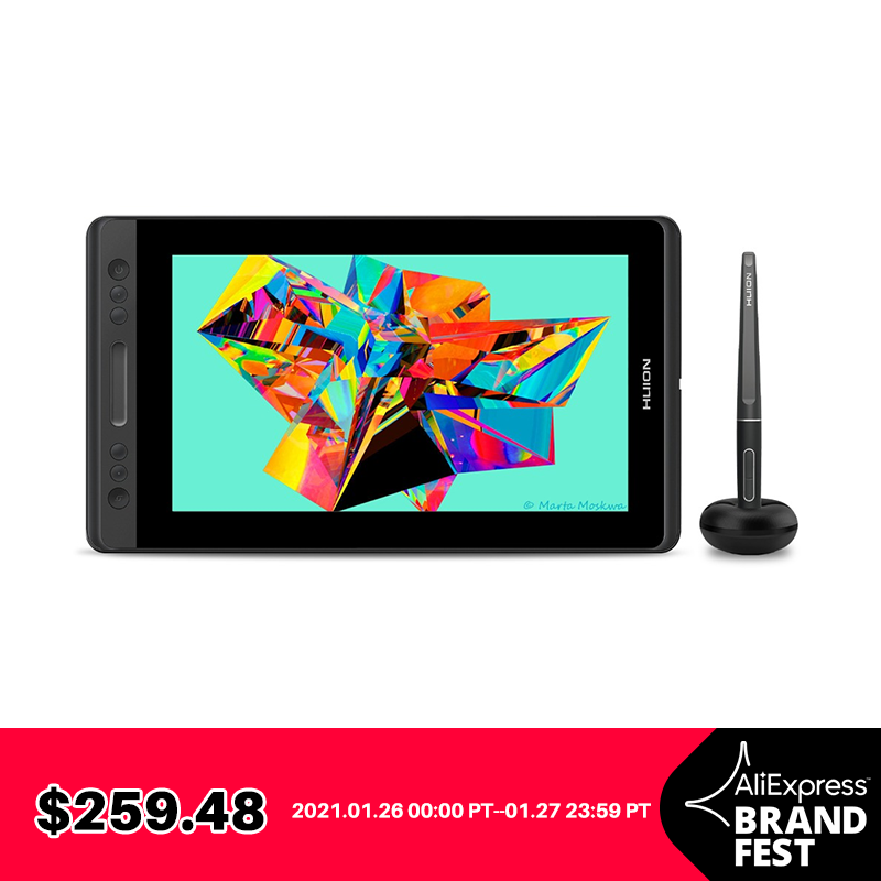 Graphic Tablet Monitor Pen-Display Digital Huion Kamvas Pro 8192 13-Gt-133 Battery-Free