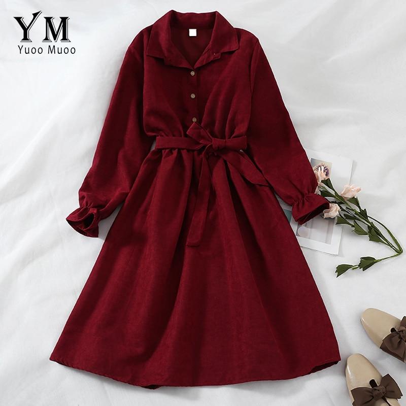 YuooMuoo Herbst Verband Kleid Frauen Neue Lange Hülse Drehen Unten Kragen Vintage Shirt Kleid Neue Casual Damen Büro Kleider Femme