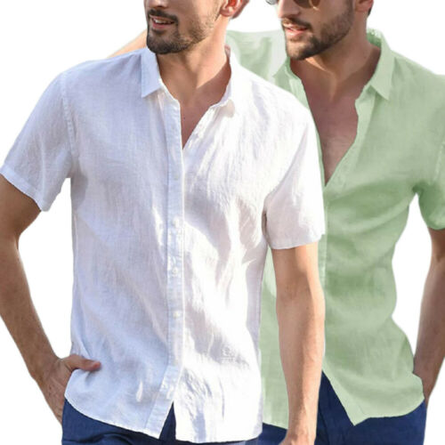 2019 Fashion Mens Short Sleeve White Shirt Summer Cool Loose Casual Turn-down Collar Shirts Tops Solid Soft Blouse hot
