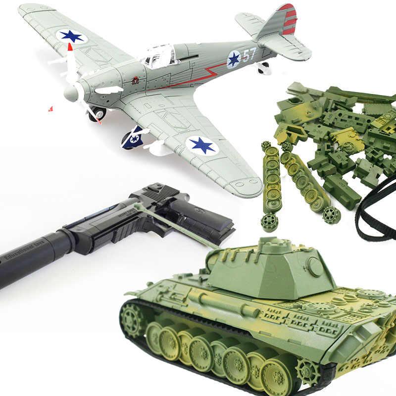 FAI DA TE Assemblare Serbatoio Combattente Giocattoli di Modello Building Block Set di Pistola Aeromobili Guerra-II Spitfire Pirata Militare Tigre Carro Armato del Deserto aquila