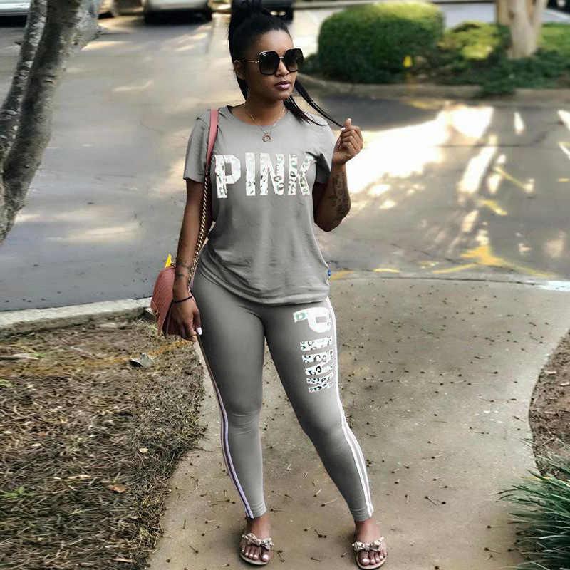 Feminino quente conjunto carta impressão sexy sweatsuit plus size topos + calças magras ternos de suor duas peças treino casual 2 peça conjunto S-XXXL