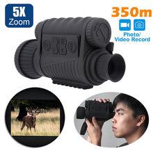 Óculos de visão noturna infravermelha, óculos monocular de visão noturna, gravador de fotos, dvr para caça ao ar livre, LS 650 6x50 720p 350m câmera fotográfica para câmera