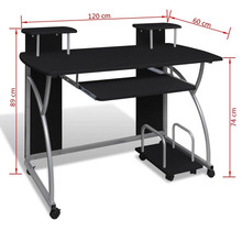 Mobile Computer Desk Pull Out Tray Black with a Sliding Keyboard Section a Portable Bottom Shelf Modern Home Office Furniture