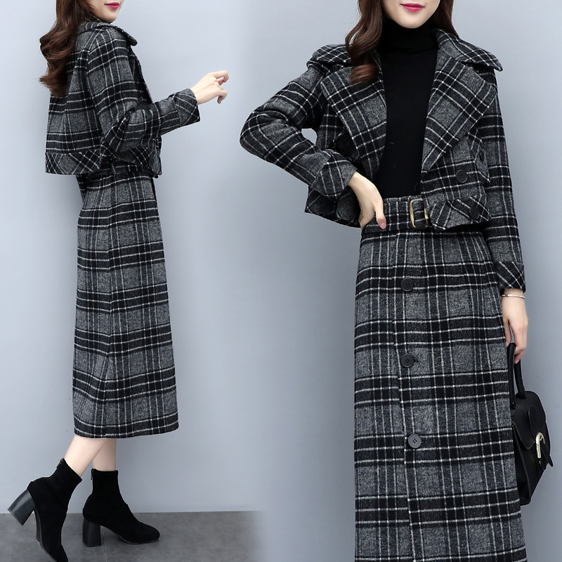 2 Two Piece Sets Short Blazer + Midi Skirt Ladies Work Long Skirt Suits Womens Grey Plaid Skirt Outfits Female Business Suits