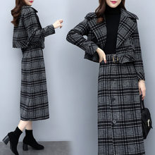 2 Tweedelige Sets Korte Blazer + Midi Rok Dames Werk Lange Rok Suits Womens Grey Plaid Rok Outfits Vrouwelijke pakken(China)