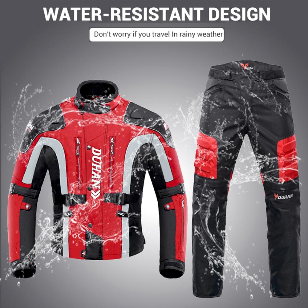 Duhan outono inverno à prova de frio jaqueta da motocicleta moto + protetor calças moto terno touring roupas conjunto de equipamentos de proteção - 4
