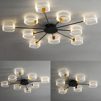 BLack Modern LED Living room ceiling lights for Bedroom study ceiling lamp Acrylic shade restaurant lighting fixture 110V 220V 1