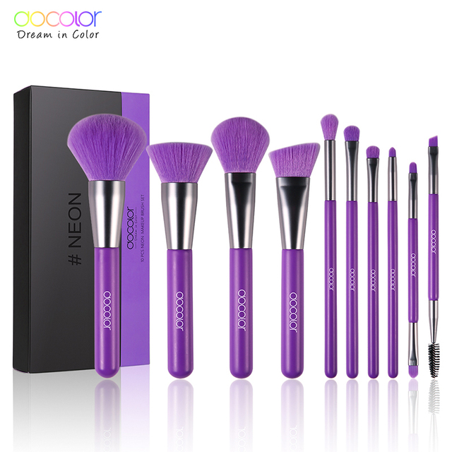 Docolor 10Pcs Purple Makeup Brushes Synthetic Hair Professional Powder Foundation blush eye Blending Contour Make up Brushes set
