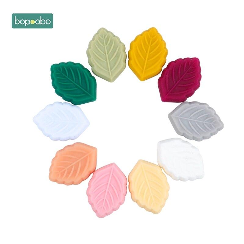 Bopoobo 30pc BPA Free Cartoon Salix Silicone Beads Teething Leaf Bead Baby Product DIY Teething Silicone Pendant Gift BPA FREE