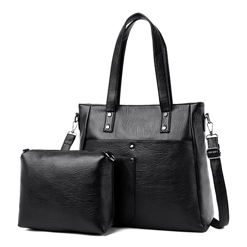 2 Sets Women Bag Luxury Handbags Genuine Leather Women Shoulder Bags Famous Brand Designer Ladies Messenger Bags Casual Tote Bag