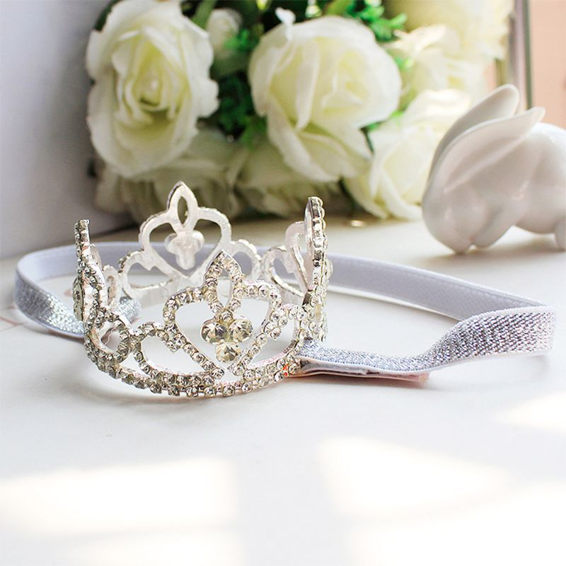 Girls Baby Kid Princess Rhinestone Crown Headband Newborn Tiara Photography Prop Color Silver Under 2 Years Old